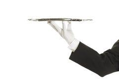 поднос серебра удерживания руки Стоковые Изображения