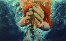 Подныривание женщины в океане Акриловая картина на холстине стоковое фото