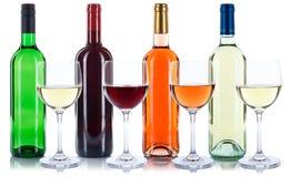 Подняли изолированные бутылки красного и белого вина Стоковое Изображение RF