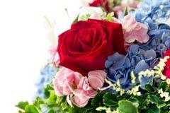 Поднял в изолированные гортензии флористического букета голубые и розовый пион Стоковое Изображение