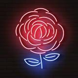 Поднял красный накалять неоновый значок Накаляя логотип знака иллюстрация вектора