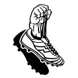 Поднятая рука держа ботинки футбола Иллюстрация штока