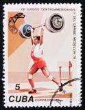 Поднятие тяжестей, 13Th центральные американские и карибские игры, около 1978 Стоковая Фотография