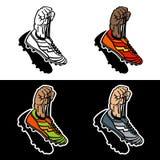 Поднятые руки держа ботинки футбола Иллюстрация вектора