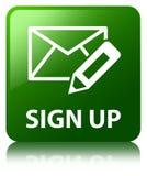 Подпишите вверх (редактируйте значок почты) кнопку зеленого цвета квадратную иллюстрация вектора