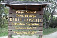 Подпишите внутри национальный парк Огненной Земли Ushuaia ареальных стоковое фото rf
