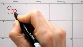Подпишите день в календаре с ручкой, нарисуйте спорт