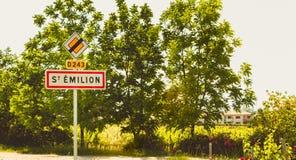 Подпишите показывать вход в маленький город Святого Emilio Стоковая Фотография RF