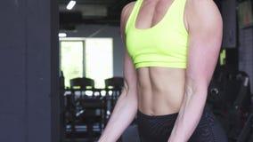 Подрезанная съемка гантелей сильной атлетической женщины поднимаясь сток-видео