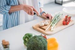 подрезанная съемка старшего вырезывания дамы величает пока варящ обедающий на счетчике в кухне стоковое изображение