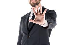 Подрезанный взгляд символа стопа показа бизнесмена стоковое изображение rf