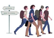 4 подростка идя назад к школе иллюстрация штока