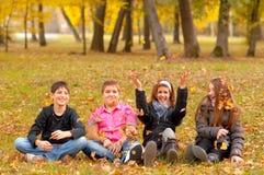 Подростки и девушки имея потеху в природе Стоковое Изображение