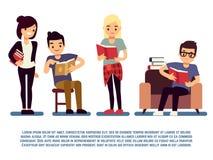 Подростки и студенты при книги изолированные на бело- молодые люди читая концепцию иллюстрация вектора