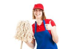 Подростковые большие пальцы руки работника вверх Стоковые Изображения RF