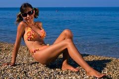 подросток девушки пляжа Стоковые Фотографии RF