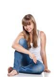подросток девушки сидя сь Стоковое Фото