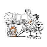 Подросток на работе смеется над на упрёк и нападениях его сердитых коллежей Ленивое предназначенное для подростков на работе иллюстрация вектора