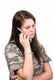 подросток телефона звонока concerned Стоковые Фотографии RF