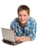 подросток netbook Стоковое Изображение