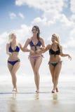 3 подруги идя на пляж Стоковые Изображения RF