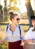 Подруги имея потеху в парке на заходе солнца Стоковые Изображения RF