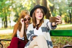 Подруги принимая selfie на парке стенда Стоковое Фото