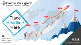 Подсвечник и финансовые диаграммы диаграммы, шаблон представлений Infographic иллюстрация вектора
