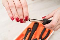 Подсказка для отвертки в женских руках Стоковая Фотография RF