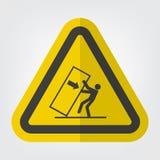 Подсказка толкотни тела над изолятом знака символа опасности на белой предпосылке, иллюстрации EPS вектора 10 иллюстрация штока