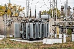 Подстанция трансформатора, высоковольтный switchgear и оборудование стоковое изображение