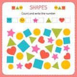 Подсчитайте и напишите номер Выучите формы и геометрические диаграммы Preschool или рабочее лист детского сада иллюстрация вектора