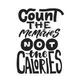 Подсчитайте памяти не калории Потеха говоря о caories и диете Цитата литерности щетки Печать каллиграфии Modernt иллюстрация вектора