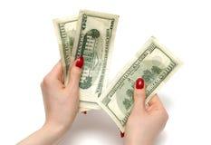 подсчитывать женщину долларов стоковое фото