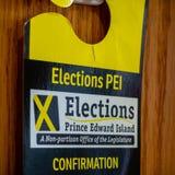 Подтверждение избраний PEI на захолустное избрание 2019 стоковые фотографии rf