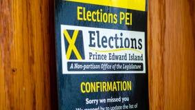 Подтверждение избраний PEI на захолустное избрание 2019 стоковая фотография