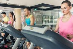 Подходящая активная женщина бежать на третбане в ультрамодном фитнес-клубе стоковое фото