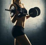 Подходящее тело красивой, здоровой и sporty женщины с гантели Стоковое фото RF