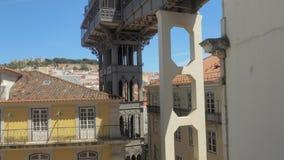 Подъем Санта Justa в Лиссабон, Португалию сток-видео