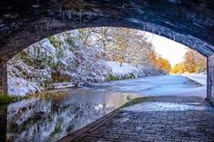 Под взглядом моста замороженного канала Бирмингема Стоковая Фотография RF