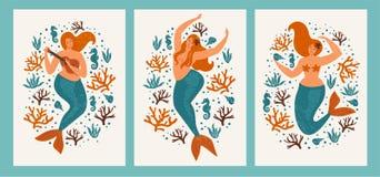 Под карточкой моря с русалкой, листьями, seashells и рыбами Простая и милая иллюстрация в пастельных цветах плакаты Стоковые Фото