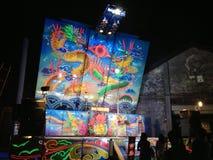 Под открытым небом кино показывая шарж Стоковые Фотографии RF