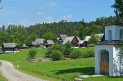 Под открытым небом музей архитектуры словаков традиционной деревянной, Словакия стоковые фото