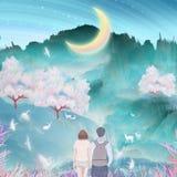 Под рекой луны, пары целуют и обнимают совместно внешний взбираться, краны в вишневых деревьях летая упаковка иллюстрации иллюстрация штока