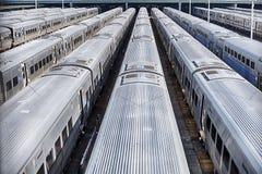 Поезда в дворе Гудзона стоковые фотографии rf