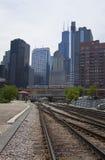 поезда движения chicago Стоковая Фотография