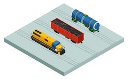 Поезда и автомобили груза вектора равновеликие железнодорожные иллюстрация штока
