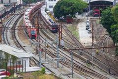 Поезда красного цвета, сини и серебра Стоковое Изображение RF
