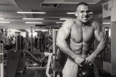 Поезда тренера фитнеса с гантелями стоковые изображения