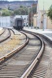 Поезд выходит железнодорожный вокзал Стоковое Изображение RF